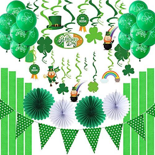 Easy Joy St.Patrick's Day Dekoration Party Deko Klee Spiralen Kleeblätter Luftballons Grün Girlande