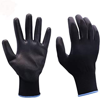 Safety Pu Coated Work Gloves Men Women 12 Pairs Ultra Thin Breathable Light Duty Grip Working Glove With Polyurethane Black Large