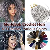 Marlybob Crochet Braids Hair Extensions Synthetic Deep Water Wave Marlibob Hairpiece Afro Jerry Curl Kinky Curly Twist Braiding Weave Hair For Black Women (14'',Light Grey)