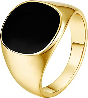 Mens Ring Stainless Steel Black 18K Yellow Gold Plated Agate Wedding Ring