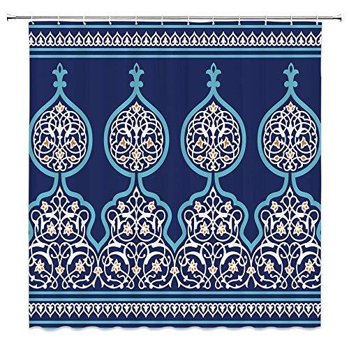 Marokkanischer Duschvorhang, alte nahöstliche türkische Figuren im böhmischen Stil Mystischer dekorativer Bilddruck, Stoff-Badezimmer-Dekor-Set mit Haken, Königsblau.