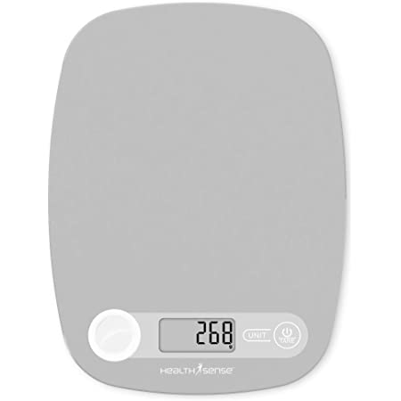 HealthSense Chef-Mate KS 40 Digital Kitchen Weighing Scale & Food Weight Machine for Health, Fitness, Home Baking & Cooking, 1 Year Warranty & Battery Included (Milk Grey)