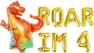 Roar I'm 4 Balloons,Four Rex Fourth Dinosaur Birthday Baby Boy Party Decorations Supplies
