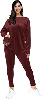 Fixmatti Women's Off Shoulder Sweatshirt Skinny Pant Set Velvet Tracksuit