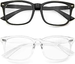 Blue Light Blocking Glasses 2 Pack Anti Eye Strain Minimize Headache UV Blocking Computer Reading Gaming Eyeglasses (2 Pack(Black& Transparent))