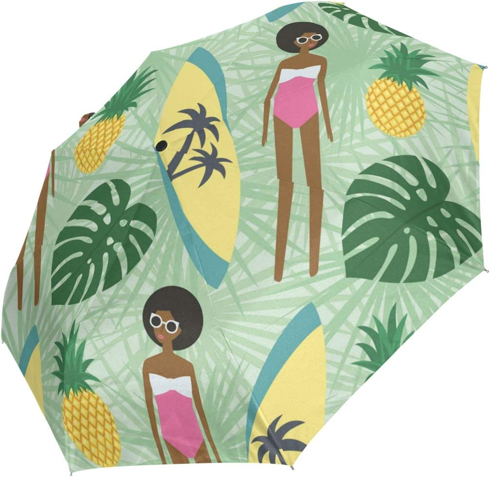 Recommendation AHOMY Windproof Outlet SALE Travel Umbrella Surfboard Pineapple Girl African