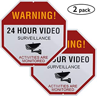 2 Pack 24 Hour Video Surveillance Sign,12