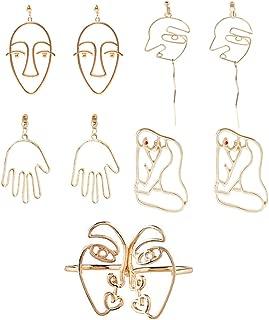 Abstract Human Face Earrings Fashion Alloy Eyes Lips Hand Dangle Earrings Unique Big Earrings for Women's Party