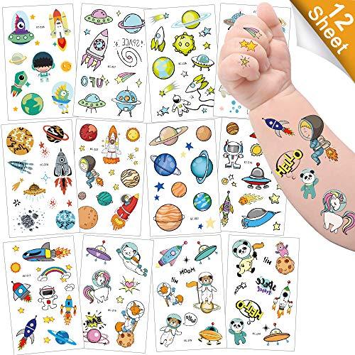 Sporgo Tattoo Kinder, Einhorn Meerjungfrau Dinosaurier Tier Weltraum Party Tattoos Set,Temporäre Tattoos Kinder Aufkleber für Mädchen Kindergeburtstag Mitgebsel Party (Weltraum)