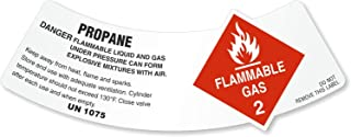 Propane - Danger Flammable Liquid and Gas, Vinyl Labels (Unlaminated), 25 Labels / Pack, 5.25