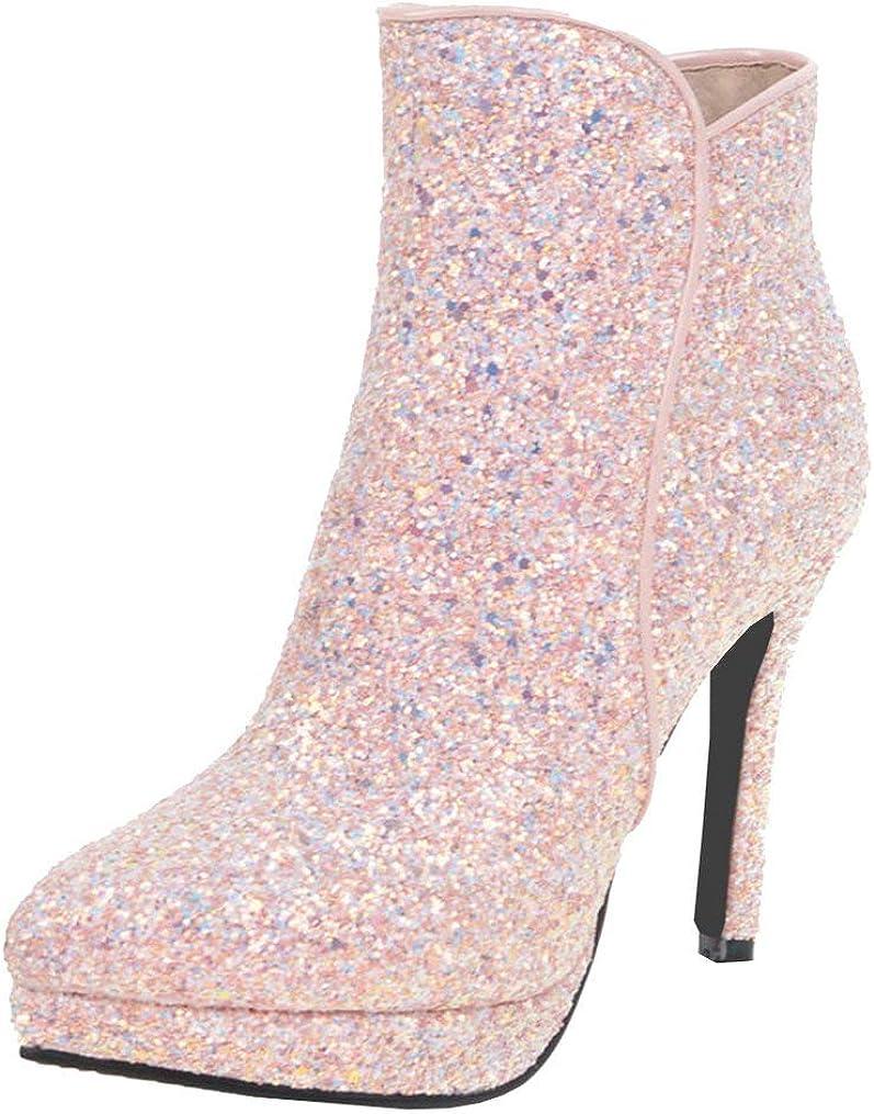 LUXMAX Women セール価格 Glitter Ankle Boots High Heel Stiletto Pointed Toe 超安い