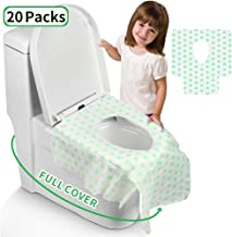 Toilet Seat Covers Disposable, Famard Extra Large Portable Potty Seat Covers for Toddlers, Soft and Waterproof Travel Potty Covers for Kids with Individually Wrapped (20 Packs)