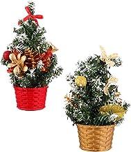 TOYANDONA 2Pcs Mini Tabletop Christmas Tree Decor with Ornaments Desktop Xmas Tree Decoration Bonsai Holiday Party Supplie...