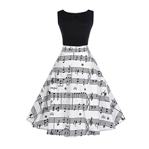 22467a921 E-Scenery Women's Vintage Musical Note Printing Bodycon Sleeveless Casual  Evening Party Prom Swing Dress