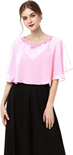 Chiffon Capelet Soft Shawls and Wraps for Dresses Womens Accessories Wedding Capes with Lace Neck