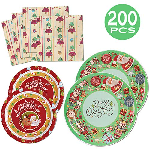 200 PCS Christmas Party Supplies Paper Plates and Napkins