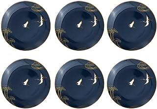 Dinnerware الذهب انعقدت لوحات العشاء من 6 قطع الأطباق المائدة الأطباق الخزف الأطراف طبق الصيني الأنيق Dining (Color : Blue)