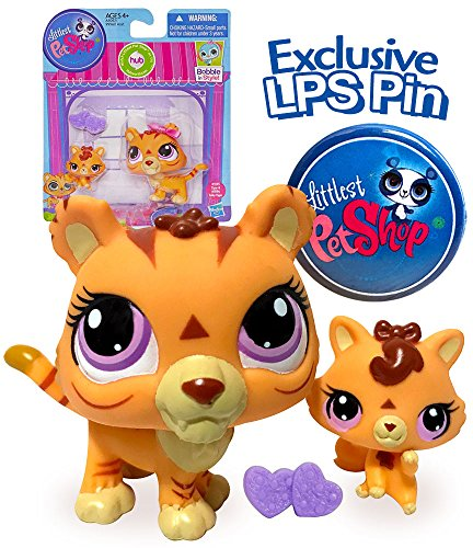 Littlest Pet Shop Mommy and Baby Orange Tiger Cat Collection Set with Exclusive LPS Pin