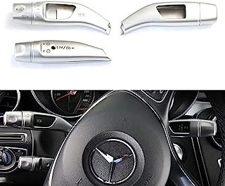 iJDMTOY Premium Style Matte Silver Finish Steering Wheel Gear Shifter, Cruise Control Lever, Windshield Wiper Switch Covers For Mercedes A B C E S GLC GLE GLS CLA GLA Class