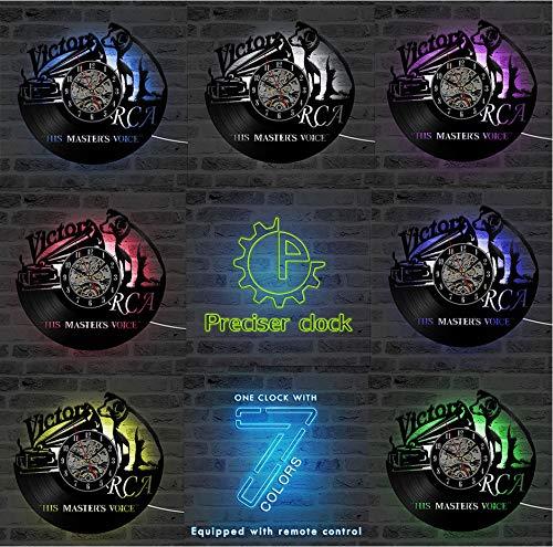 Knncch Lecteur De CD Et Chien Mignon Disque Vinyle Vinyle Horloge Murale Horloge D'Enregistrement 3D Horloge Antique Fait Main Pendaison Pendule A avec 7 Couleurs
