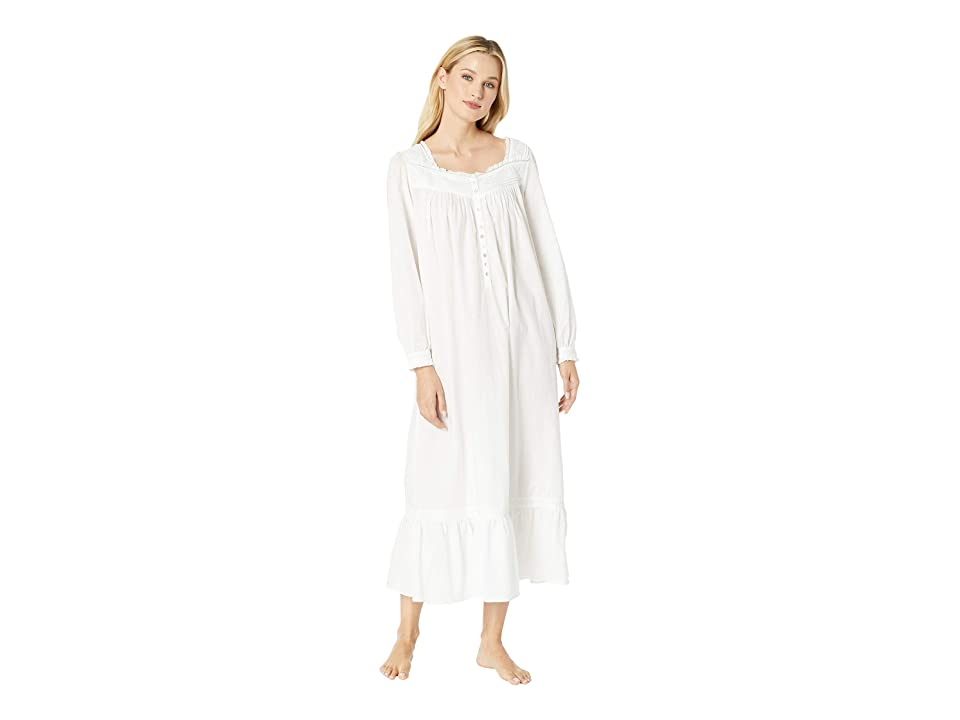 Eileen West Embroidered Cotton Lawn Ballet Long Sleeve Nightgown (White) Women