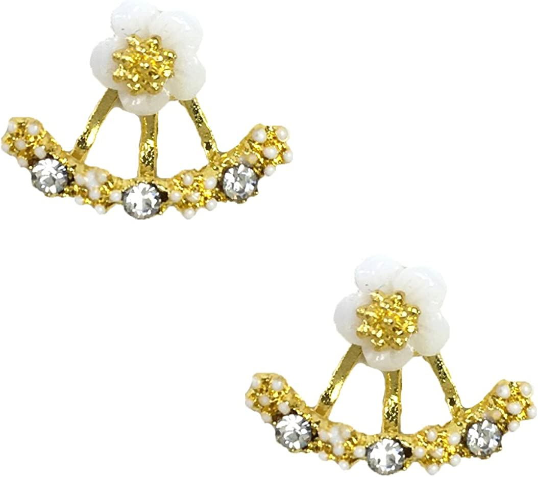 B Jewelry Collection 'Dainty Daisies' Ear Jacket Free Max 86% OFF Shipping New Golde Earrings