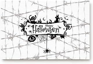 Entrance Door Mat Large 20x32in Entry Way Doormat Front Door Rug Indoor Outdoor Welcome Mat Halloween Spider Web Ghost Bla...