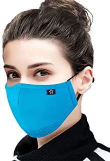 Cotton Dust Face Mask with replaceable PM2.5 Activated Carbon Filter Air Pollution Mask for Running, Traveling, Cycling Washable and Reusable Warm Windproof Mask (Blue 2)