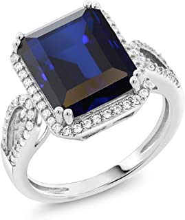 Sterling Silver Simulated Sapphire Antique Women's Ring (5.00 cttw Emerald Cut Available 5,6,7,8,9)