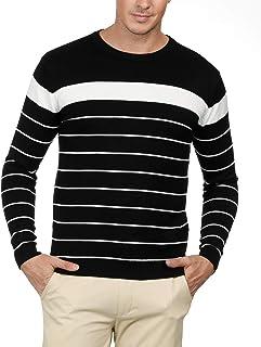 PAUL JONES Men's Long Sleeve Lightweight Striped Pullover Crew Neck Sweater