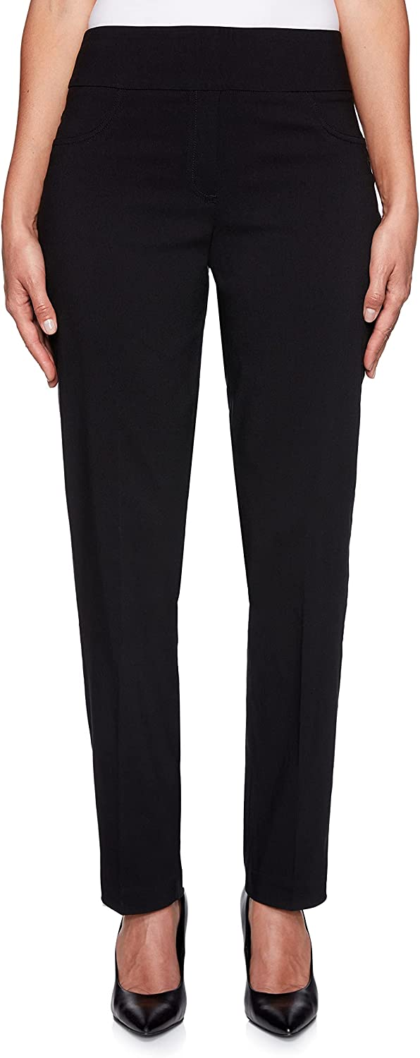 Ruby Rd. Womens Plus-Size Mid-Rise Pull-On Straight Solar Millenium Tech Pant