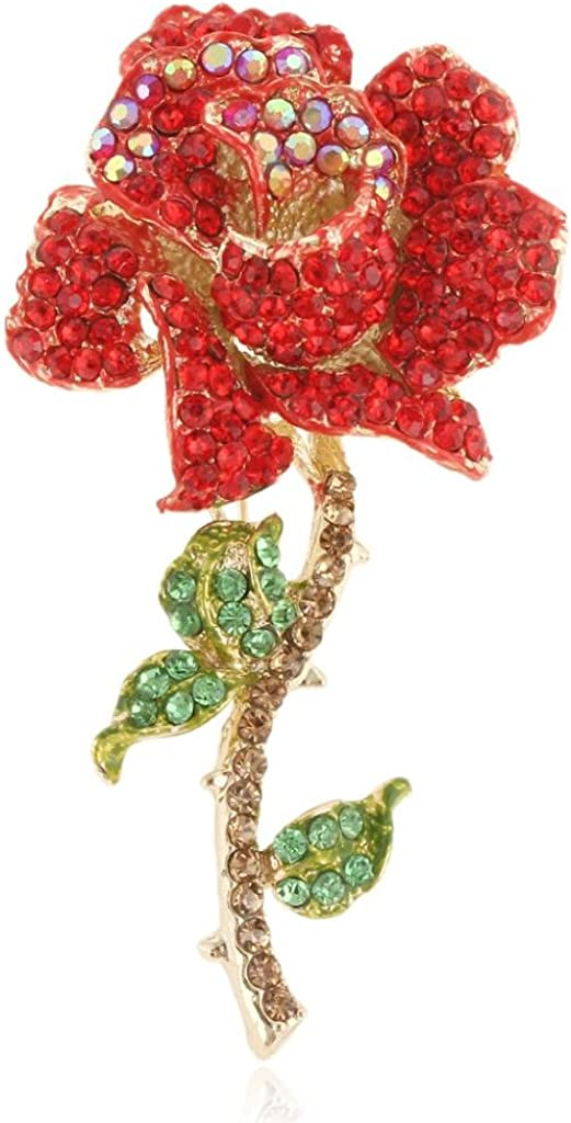 EVER FAITH Women's Austrian Crystal Blooming Rose Flower Leaves Brooch Gold-Tone