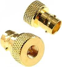 Oiyagai 2PCS BNC Female to SMA Male Barrel Type Gold Connector RF Coax Coaxial Adapter