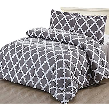 Utopia Bedding Printed Comforter Set (King, Grey) 2 Pillow Shams - Luxurious Soft Brushed Microfiber - Goose Down Alternative Comforter