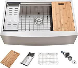 KINGO HOME 33-Inch 18 Gauge Handmade Stainless Steel Single Bowl Drop-In Farmhouse Sink, Workstation Farm Kitchen Sink with Integrated Ledge and Accessories