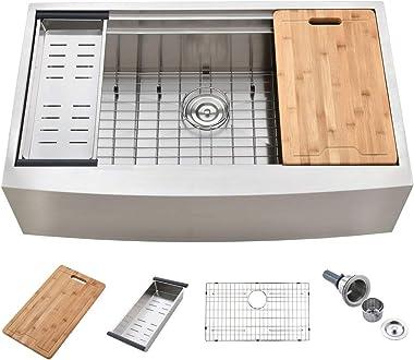 KINGO HOME 33-Inch 18 Gauge Handmade Stainless Steel Single Bowl Drop-In Farmhouse Sink, Workstation Farm Kitchen Sink with I