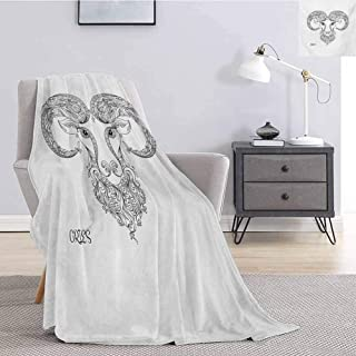 Luoiaax Zodiac Aries Plush Throw Blanket for Couch Line Art Style Horoscope Symbol Henna Tattoo Design Floral Curls Spirals Soft Warm Plush Blanket W60 x L80 Inch Black and White