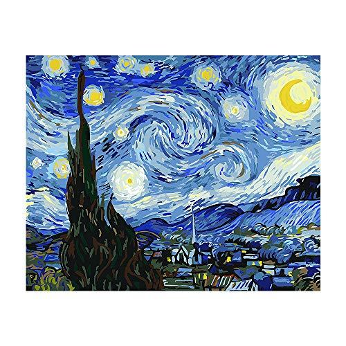 Banlana Pintura por números para adultos, pintura DIY para adultos a nivel principiante en un lienzo enrollado en formato 40,64 x 50,80 cm (diseño: La noche estrellada, Van Gogh)