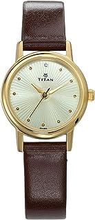 ساعة كاريشما بنظام عرض انالوج ومينا بلون ذهبي فاتح للنساء من تيتان