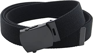 حزام شبكي من القماش بنمط عسكري مع إبزيم أسود ورأس بطول 142.24 سم بألوان عديدة