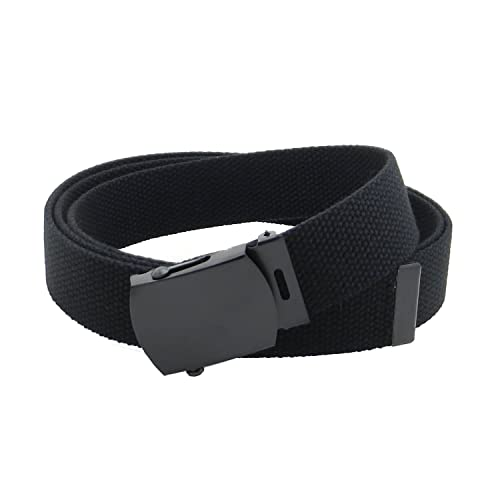 8535149f2864 Canvas Web Belt Military Style with Black Buckle and Tip 56