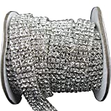 3 FEET 1 Yard 4 Rows SS16 3/5 inches Clear Crystal Close Silver Plated Rhinestone Chain Trims Cup Chain Wedding Cake Decoration