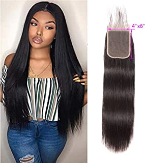 Straight Wave Lace Closure 4X6 Lace Base Closure With Baby Hair Free Part Unprocessed Virgin Human Hair Extensions Brazilian Hair Straight Preplucked Closure Front Bleached Knot 1B(16 Closure)