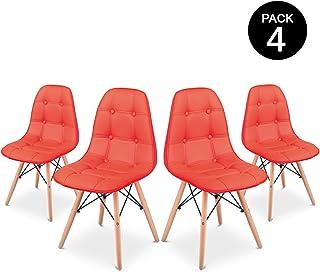 Pack 4 Sillas comedor color Rojo de diseño acolchadas -