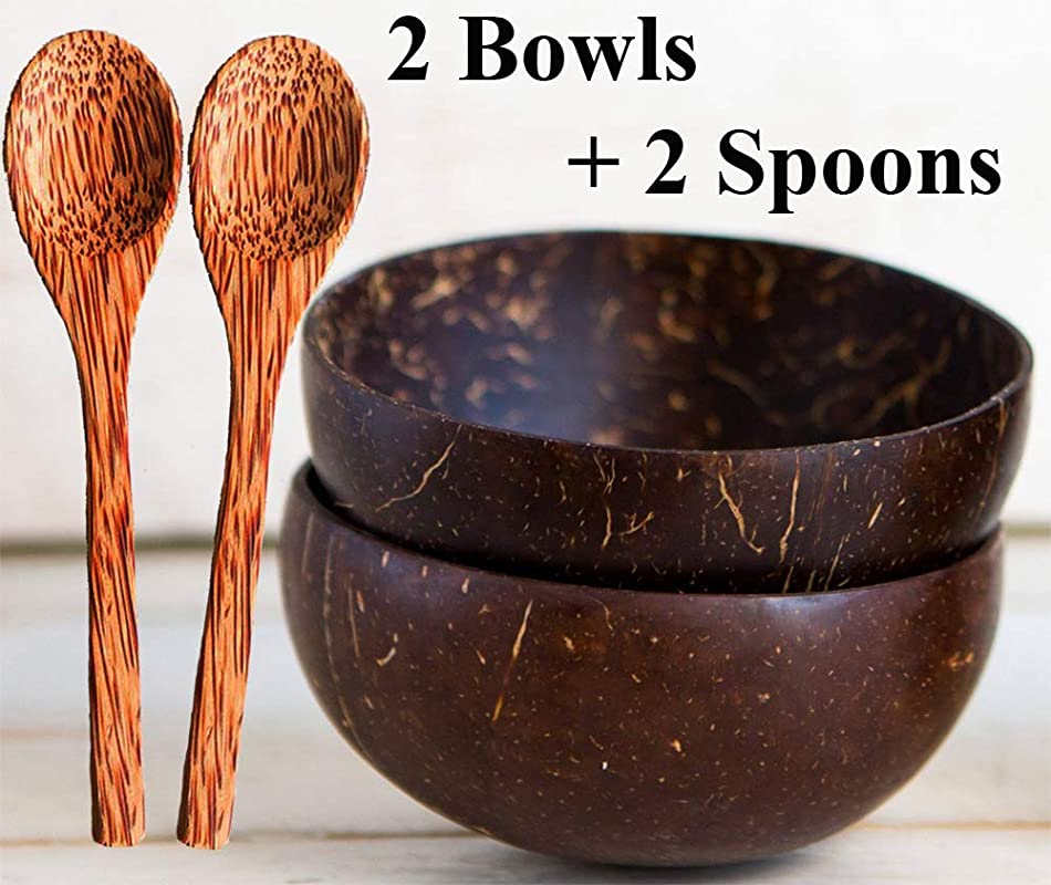 Natural Smoothie Coconut Bowls And Spoons Set Of 2 Polished With Coconut Oil Durable Lightweight Useful Large Wooden Serving Bowl For Salads Breakfast Decoration Vegan Organic Friendly