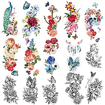 Yazhiji 15 sheets large Sexy waterproof Temporary Tattoos for Men Women Flowers Collection  19X9 CM