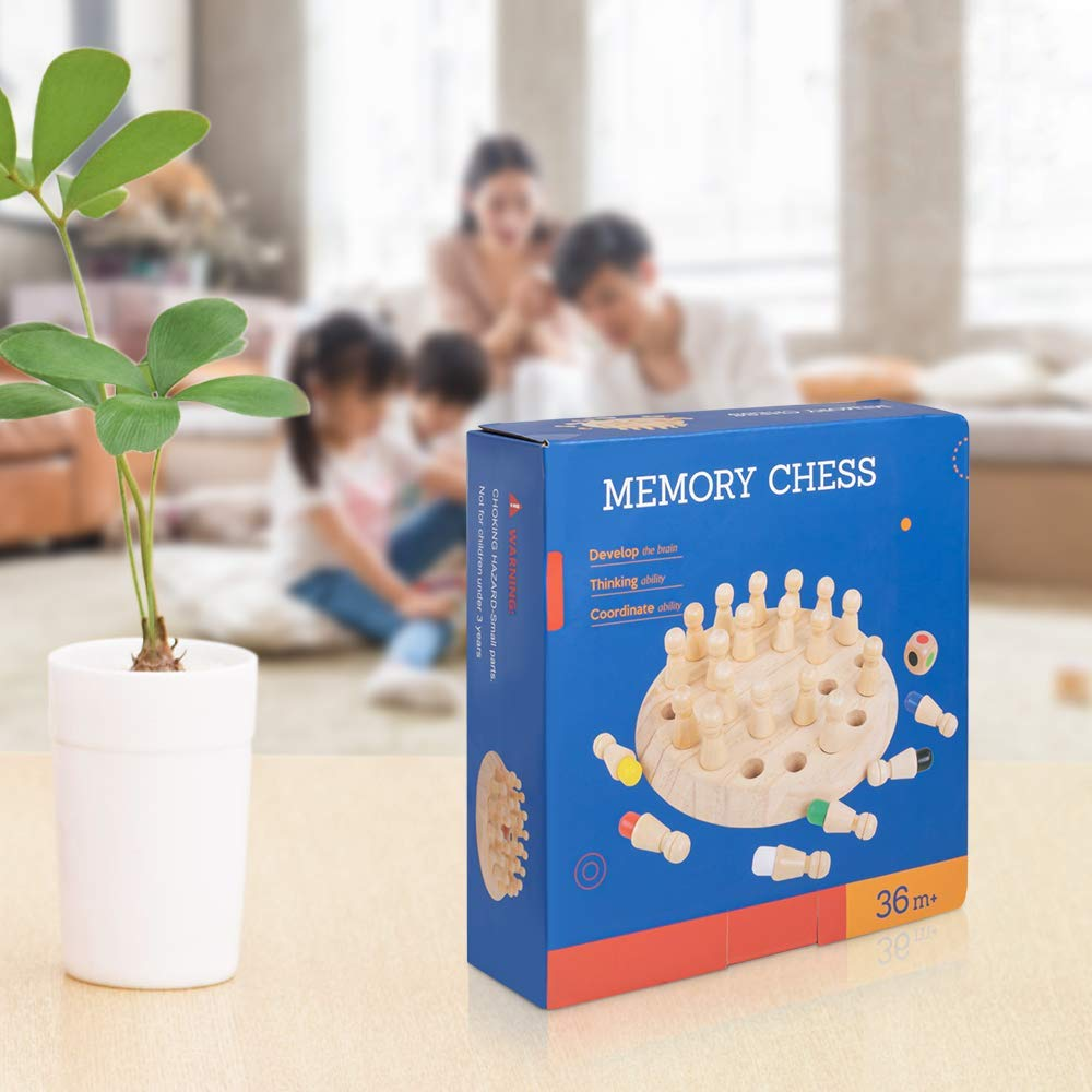 MumooBear New Children Wooden Memory Matchstick Chess Game, Educational Intelligent Logic Game and Brainteaser Children Early Educational Family Party Casual Gifts