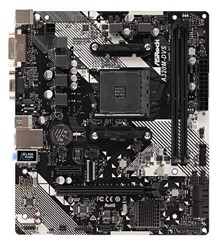 Asrock Piastra A320M-DVS R4.0, AMD, AM4, A320, 2DDR4, 32 GB, VGA+DVI, GBLAN, 4SATA3, 6USB3.1, MATX