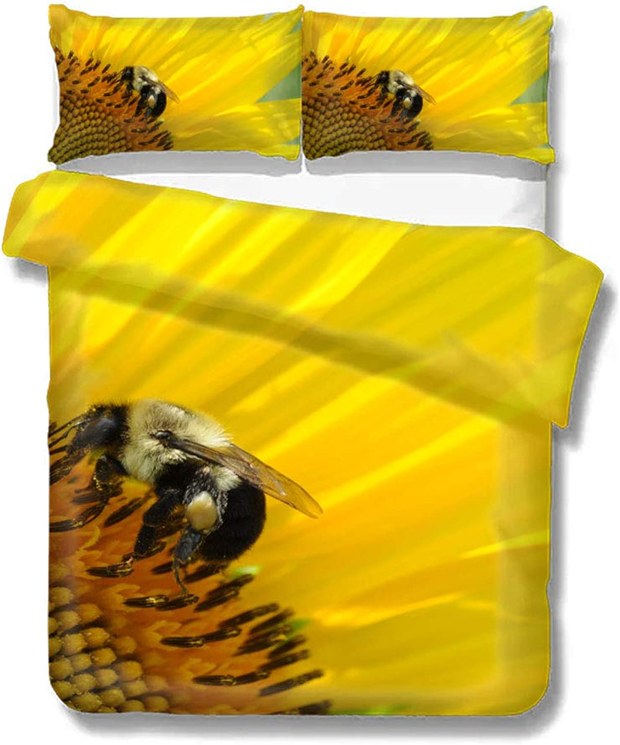 Duvet Cover Sunflower Bee Honey Yellow Flower Home Bedding Duvet Cover Set Soft Comfortable Breathable Twin Size