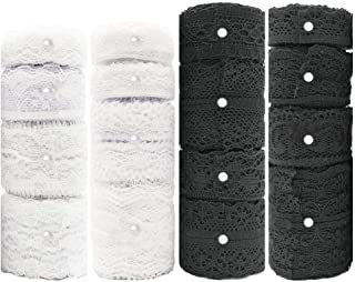 Black White Lace Trim 16 Rolls 52.8 Yard, Assorted Vintage Patterns Cream Lace Ribbon Used for DIY Crafts Decorations and Sewing Meganeopre